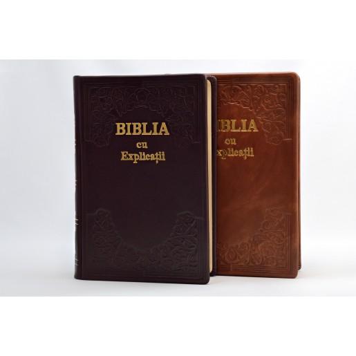 Biblie lucrata manual, piele, cu index - CO 77 HM