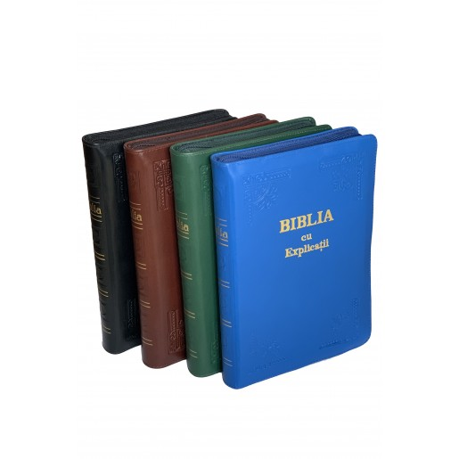 Biblie lucrata manual, piele, cu index si fermoar - CO 77 HM