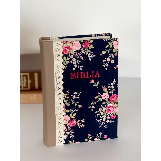 Biblie handmade  053 - floral crem si bleumarin