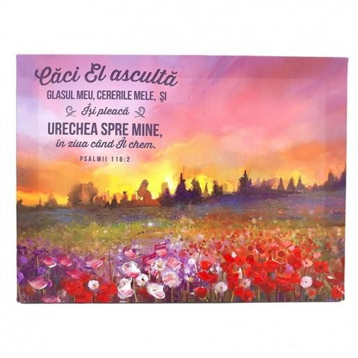 Tablou cu peisaj și verset (70 cm)