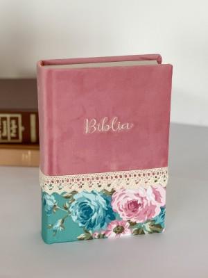 Biblie handmade  053 - floral verde si roz
