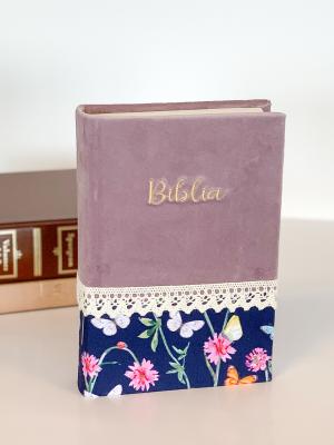 Biblie handmade  053 - floral mov si bleumarin