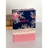 Biblie handmade  053 - floral roz si bleumarin