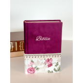 Biblie handmade  053 - floral mov si roz