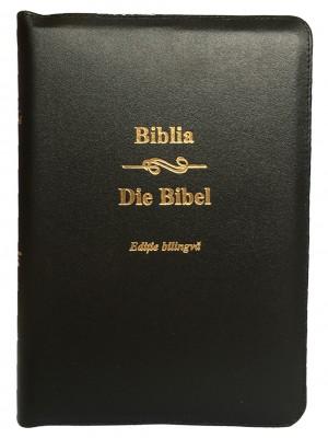 Biblie bilingva Romana-Germana neagra, coperta piele, cu fermoar