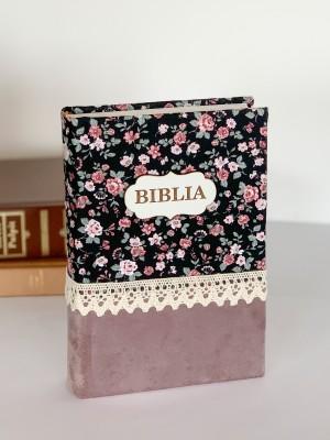Biblie handmade  053 - floral negru si roz