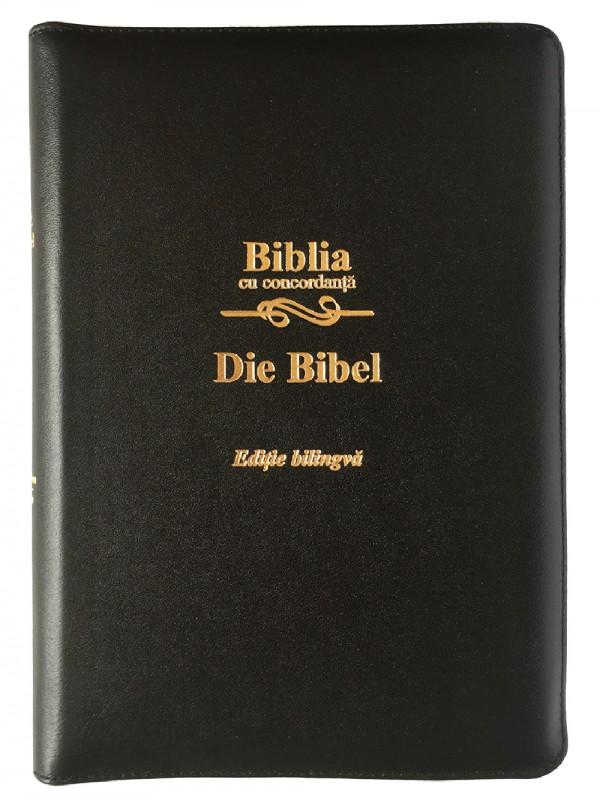 Biblie bilingva Romana-Germana neagra, piele si fermoar, cu concordanta
